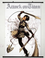 Home Decor Anime Attack On Titan Wall Scroll Poster Fabric Painting Levi