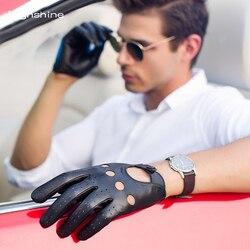 HIGHSHINE mens Echtes Leder Handschuhe Männlichen Atmungsaktiv Ziegenleder Thin Frühling Sommer Herbst Fahren Anti-skid Handschuhe Männer Handschuhe