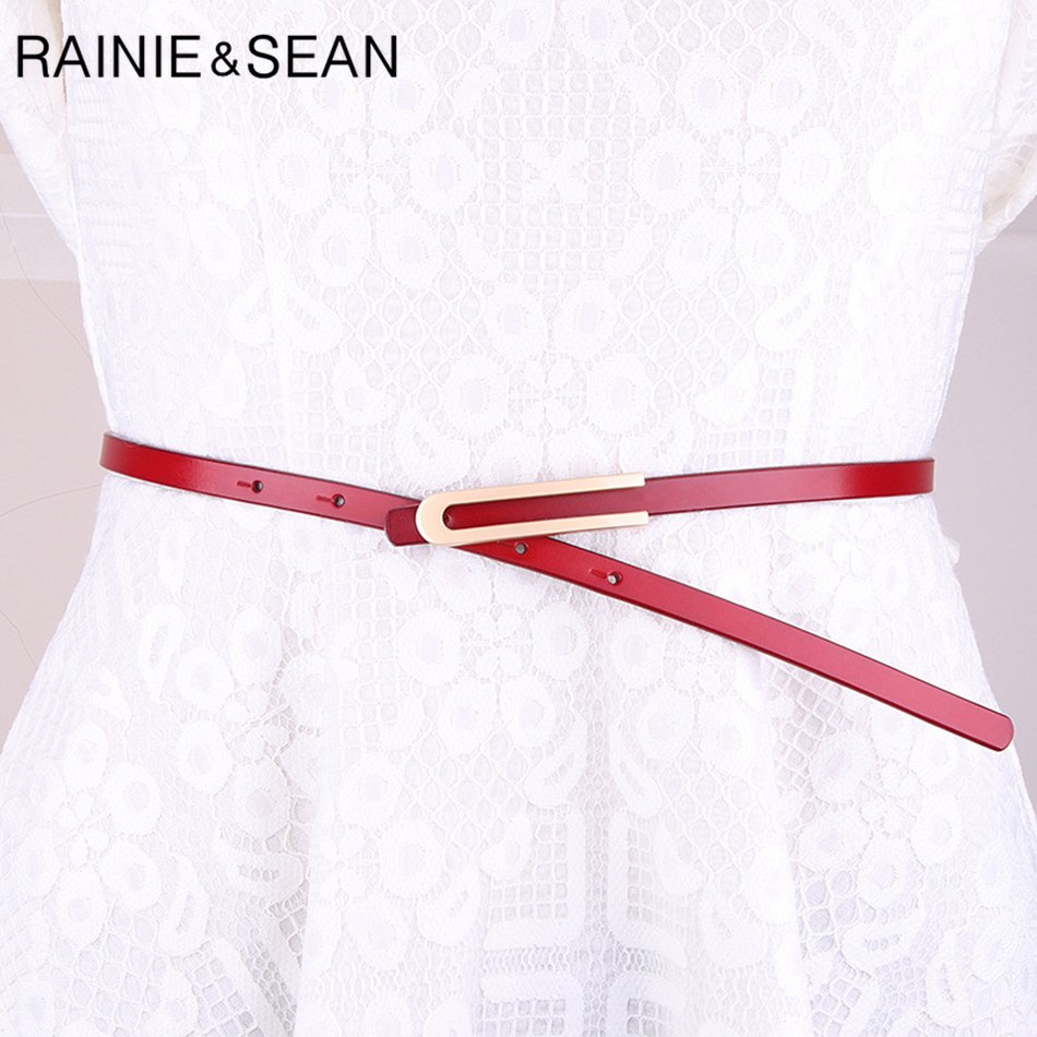 RAINIE SEAN Skinny Belt for Dress Genuine Leather Belt Smooth Buckle Female Red Elegant Thin French Ladies Cowhide Belt Strap in Women 39 s Belts from Apparel Accessories