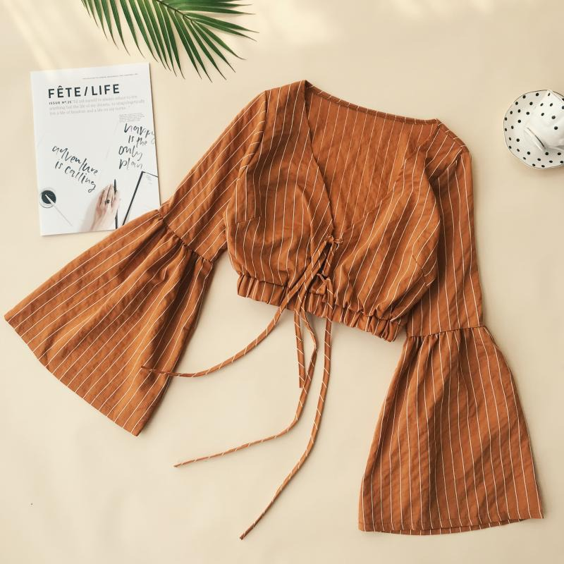 2019 Women's Crop Top V Neck Striped Print Short Blouse Ladies Slim Lace Up Shirt