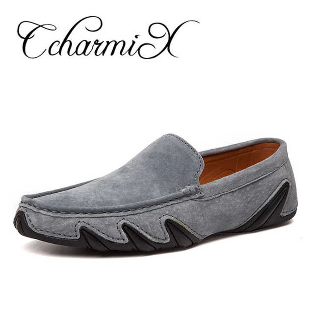 CcharmiX Summer Walking Breathable Casual Shoes New Fashion Moccasins Men Loafers Suede Leather Mens Driving Boat Shoes Big Size