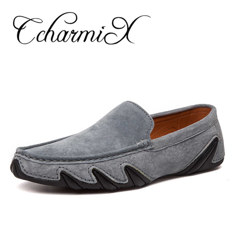 CcharmiX Summer Walking Breathable Casual Shoes New Fashion Moccasins Men Loafers Suede Leather Mens Driving Boat Shoes Big Size brand new fashion summer spring men driving shoes loafers pu leather boat shoes breathable male casual flats loafers big size