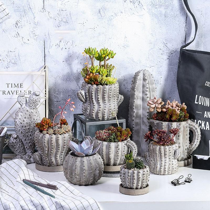 Plantes succulentes pot de Fleurs moule Cactus forme moules en silicone pour le béton pot