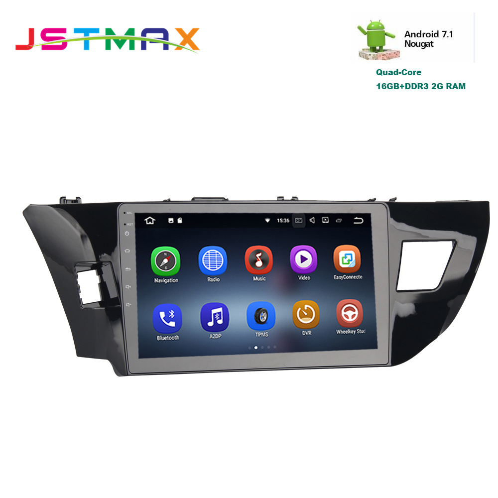 JSTMAX 10.2 Android 7.1 Car GPS Player radio Navi for Toyota Corolla 2014-2016 with 2G+16G Quad Core Stereo Multimedia NO DVD