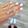 Brand new AAA cubic zircon micro pavimentada oco geometria declaração de anéis de dedo para as mulheres jóias Coreano
