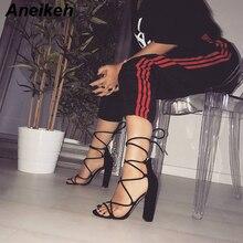 Aneikeh Gladiator Sandals Women Cross Bandage Peep Open Toe