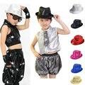 2015 moda de nueva Marca Niño Del Cabrito de la Danza Del Club Del Partido de Bling Lentejuela Fedora Jazz Sombrero Trilby puesta en Escena dom sombrero de verano
