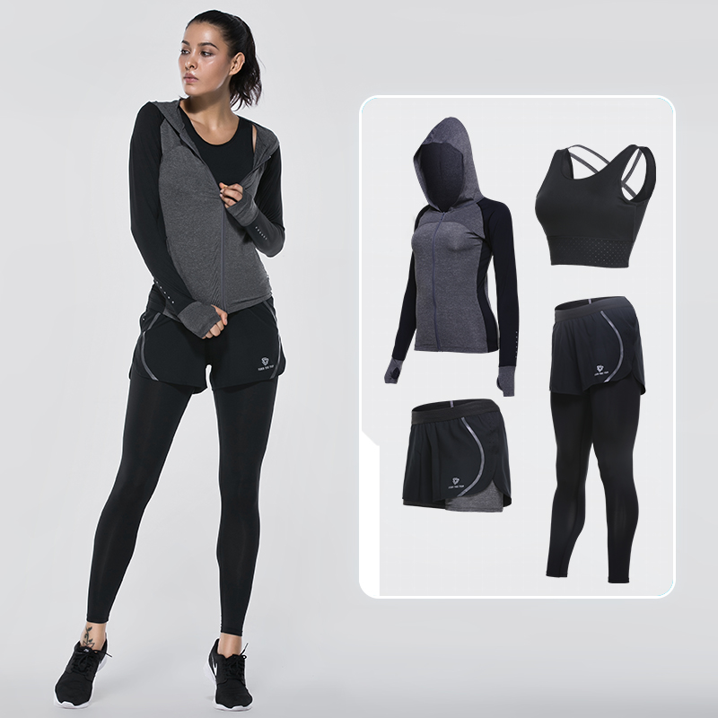 Vansydical Sports Clothing Yoga Sets Women's Sports Suits 4pcs Fitness Sportswear Training Running Set GYM Quick Dry Tracksuits