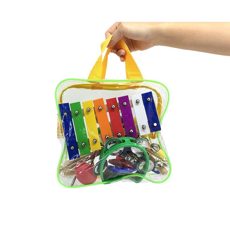 Ensemble d'instruments de musique pour enfants 10 pièces/ensemble Xylophone Triangle marteau de sable hochet planche de danse cadeau d'anniversaire de noël pour les enfants