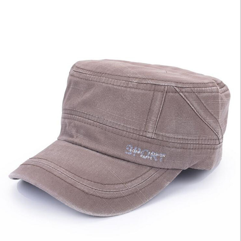 Brand Mens Military Cap Washed Cotton Flat Top Military Hats For Men Adjustable Outdoor Sports Visor Cap Army Militar Hat