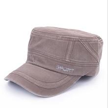купить Brand Mens Military Cap Washed Cotton Flat Top Military Hats For Men Adjustable Outdoor Sports Visor Cap Army Militar Hat онлайн