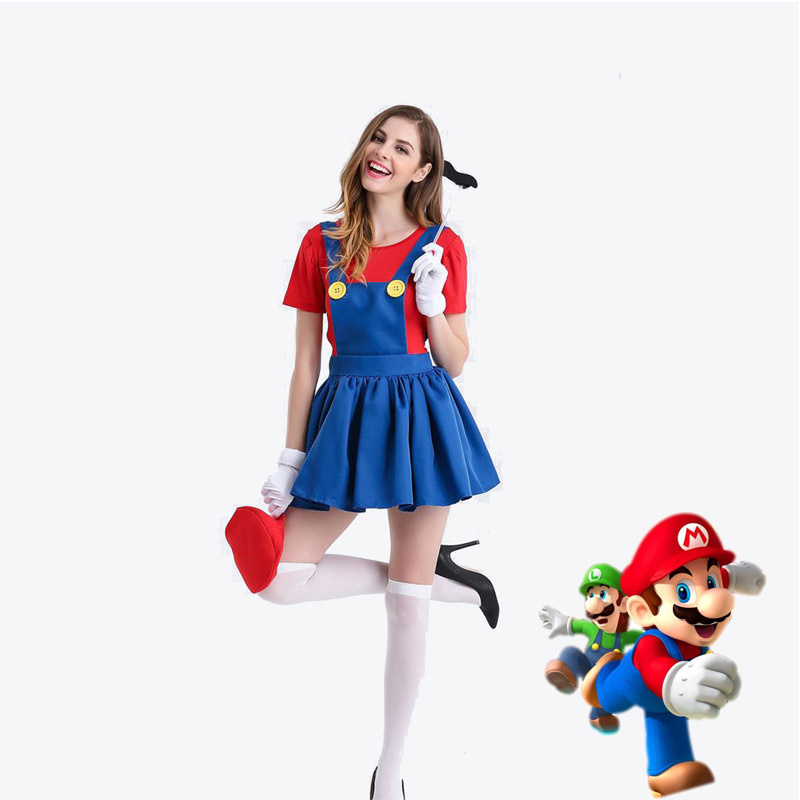 Halloween Super Mario Luigi Bros Costume Women Sexy Dress Adult Mario Bros Cosplay Costume Fancy Dress