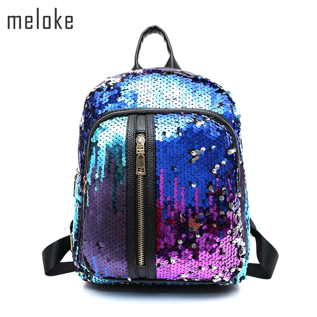 Meloke 2019 Newest Glitter Backpack Teenager Boys Girls School bag Women  Small Sequins Backpacks Bag Vertical