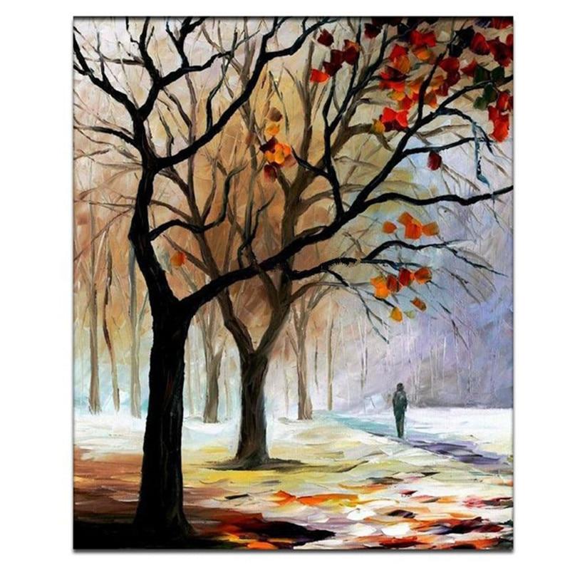 Grand arbre fait main scène peintures moderne abstrait mur Art hiver paysage image peint à la main paysage peinture à l'huile sur toile