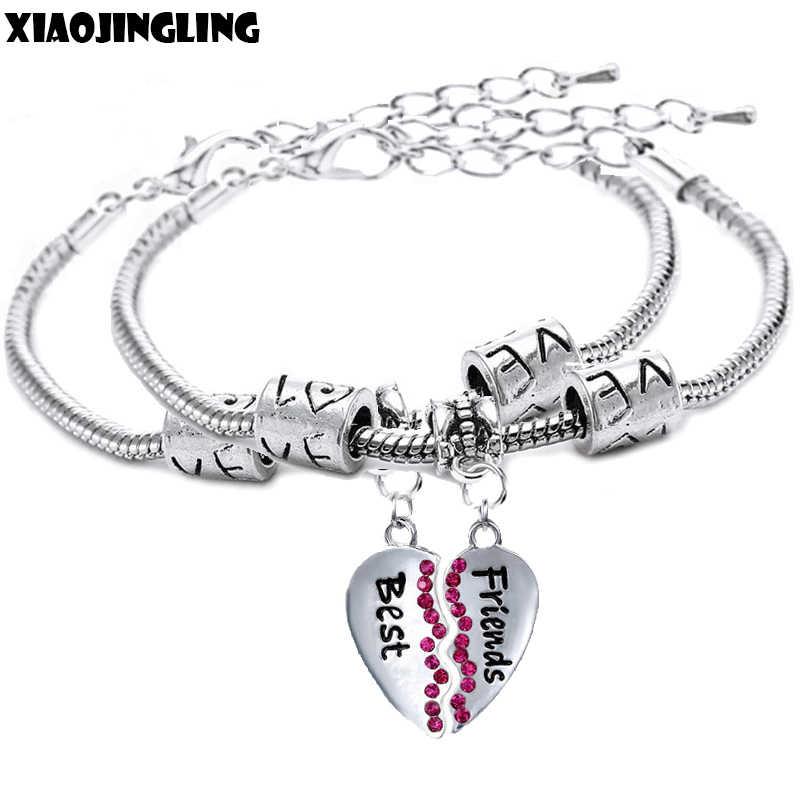 3f9e474a5345 Detalle Comentarios Preguntas sobre XIAOJINGLING 2 unids par encanto pulsera  de diamantes de imitación diseño corazón roto pulseras y brazaletes  serpiente ...