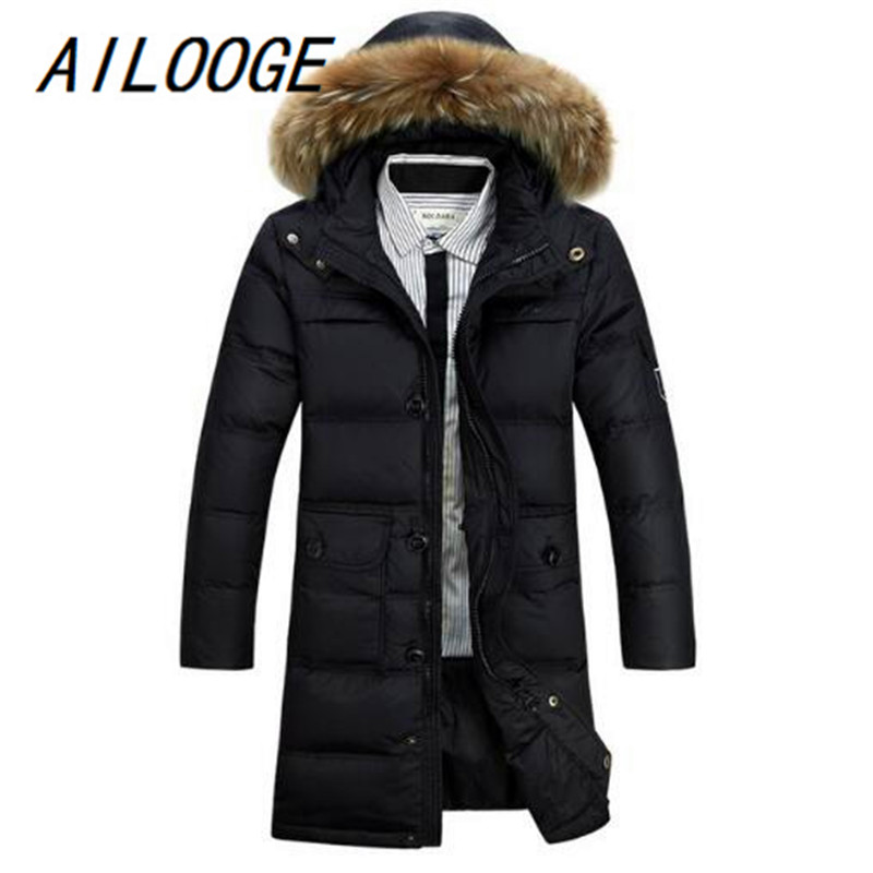 AILOOGE  Winter New Men Parka Long Solid Down Jackets Coats Thick Hooded Warm Soft Stand Collar Zipper Plus Size Men's Coats ailooge winter parka men warm jacket outerwear padded hooded 2017 brand new stylish down jackets with glasses windbreaker coat