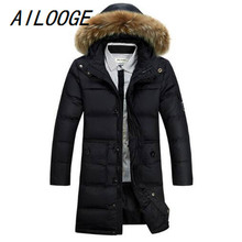 AILOOGE  Winter New Men Parka Long Solid Down Jackets Coats Thick Hooded Warm Soft Stand Collar Zipper Plus Size Men's Coats