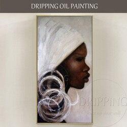 Dipinta A mano di Alta Qualità Astratta Africa Donna Ritratto Dipinto Ad Olio su Tela Astratta Africa Donna Immagini per Soggiorno