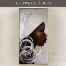 Hand-painted High Quality Abstract Africa Woman Portrait Oil Painting on Canvas Pictures for Living Room