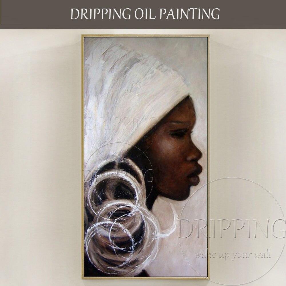 Peint à la main De Haute Qualité Abstrait Afrique Femme Portrait Peinture À L'huile sur Toile Abstrait Afrique Femme Photos pour Salon