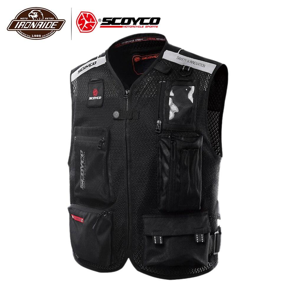 SCOYCO Motorcycle Vest Moto Jacket Vest Reflective Moto Clothing Mesh Motocross Off Road Racing Vest Motorcycle