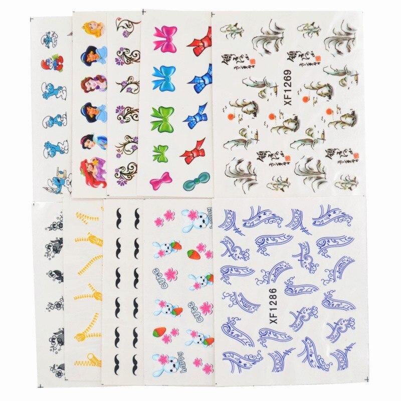 Compre Estilos De 50 Hojas Mixtas De Marca De Agua Bow Pegatinas De Dibujos Animados De Uñas De Arte De Transferencia De Agua Tips Adhesivos De