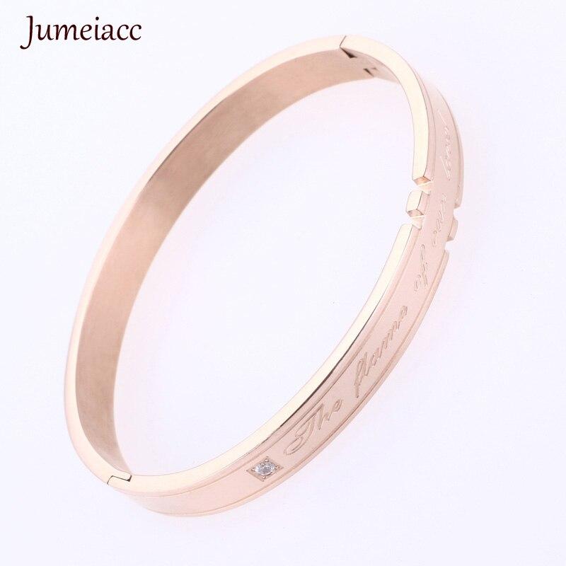 Jumeiacc Cuff Bracelets&Bangles Top Rose Gold Color Brand Couples Simple Glaze Buckle Love Charm Bracelet For Women Or Men F124