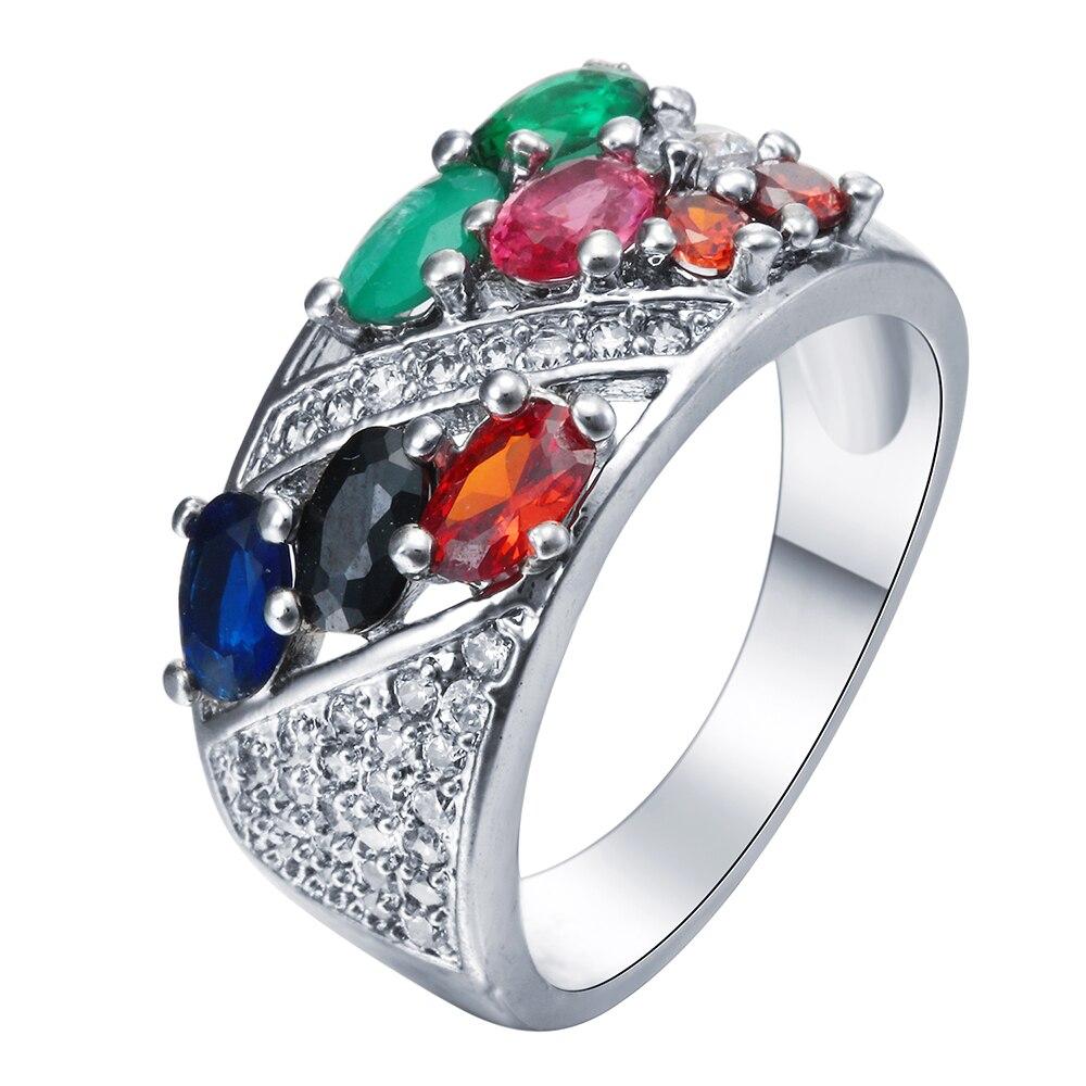 Красочные Циркон обещание Кольца украшений фианит женщин Обручение создан Красный CZ черный зеленый смешанный кольцо