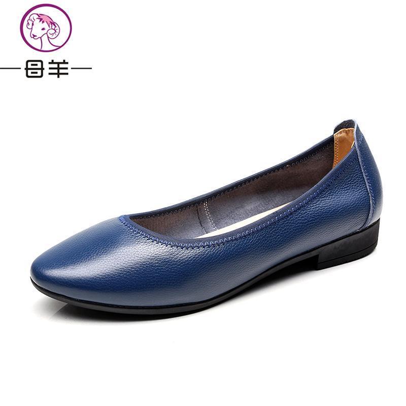 Forår 2017 kvinder sko kvinde ægte læder flade sko mode håndsyede - Damesko