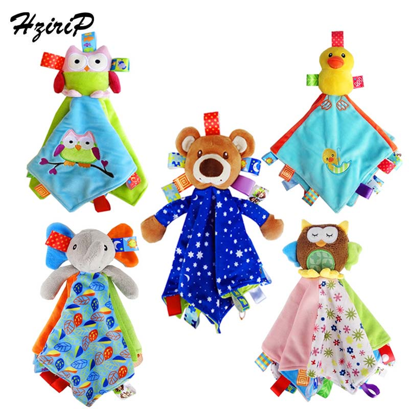 Hzirip 1pcs Baby Rattles Cartoon Animal Elephant Bear Dolls Soft Square Plush Baby Appease Towel Boy Girl Infant Kids Toys Gifts Big Clearance Sale Baby Rattles & Mobiles Toys & Hobbies