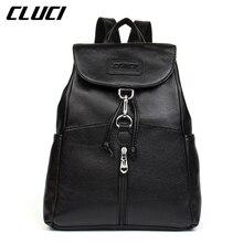 CLUCI Daypacks Genuine Leather Fashion Cover String Blue/Pink/Purple/Beige Backpacks For Teenage Girls School  Backpack Mochila