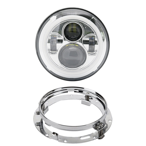 Image 2 - Motorcycle 7 inch Moto LED Headlight for Harley bike with 4  1/24.5 LED Passing Lamps Fog Lights