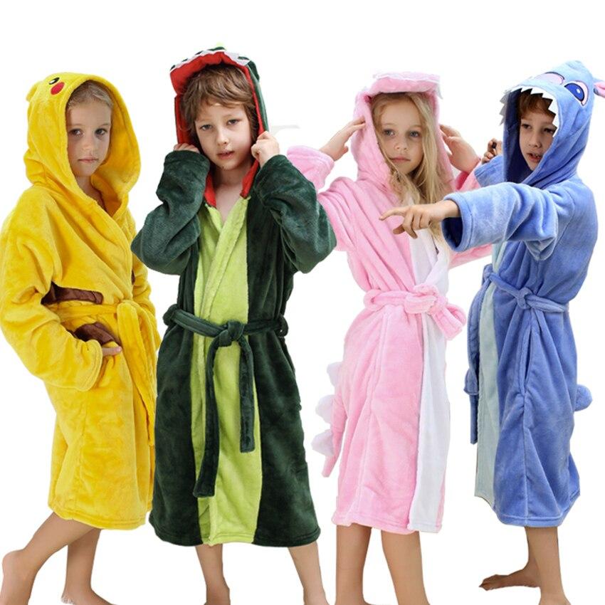 Халат детский для мальчика зимние милые животные детские пижамы для девочек Фланель с капюшоном пижама с длинными рукавами Рождество Детск...