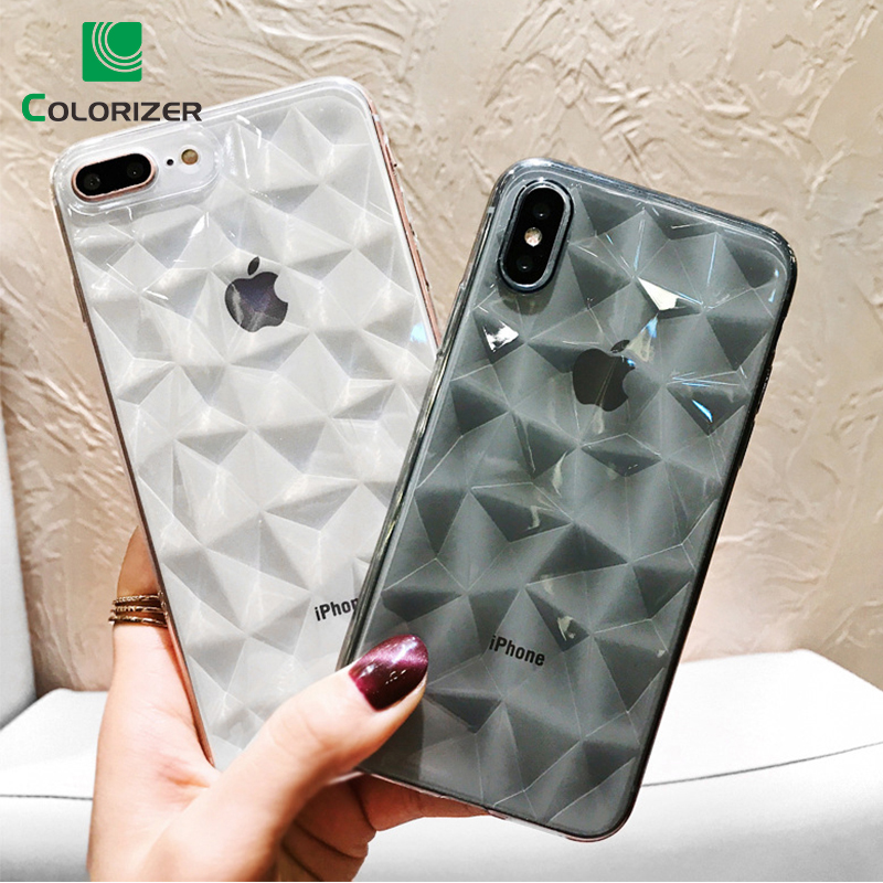 Diamond Texture Case For iPhone X XS MAX XR Soft Phone Cover For iPhone 6 6s 7 8 Plus Luxury Transparent Cases Ultra Thin Coque