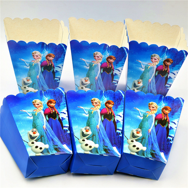 6pcs/lot Paper Popcorn Box Disney Queen Elsa&Pincess Anna Kid Girl Birthday Party Snack Box Event Party Candy Gift Box Supply