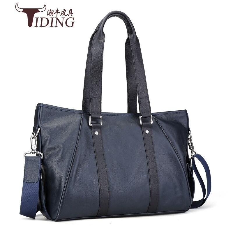 men's shoulder bags cow leather 2017 new man fashion brand vintage soft black big travel handbags genuine leather male bags