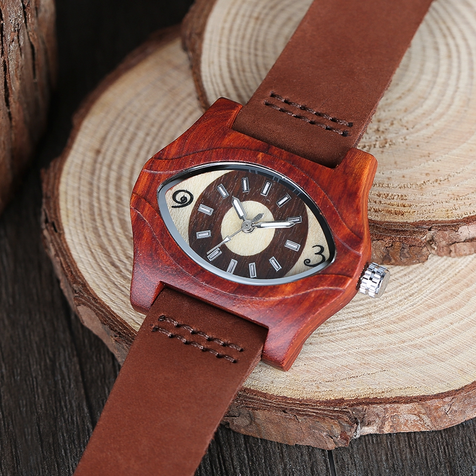 2017 Retro Red Wood Watch Creative Eyes Design Unique Men Women Natural Wooden Quartz-watch Genuine Leather Handmade Unisex Christmas Gifts (11)