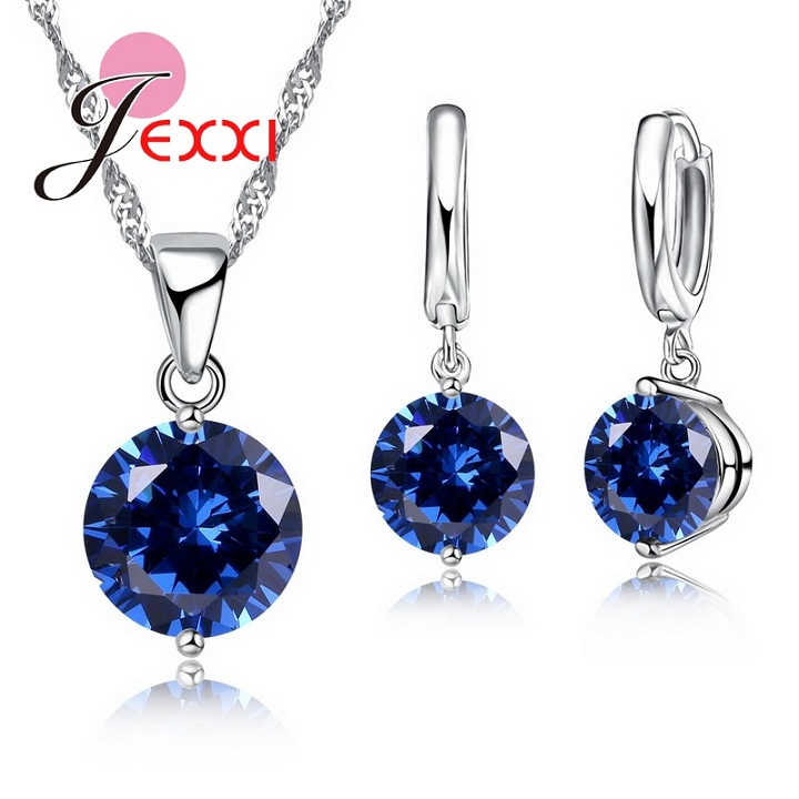 Charm 925 Sterling Silver Jewelry Sets 8 Colors Cubic Zircon Pendant Set Anniversary Earrings Necklace Accessories