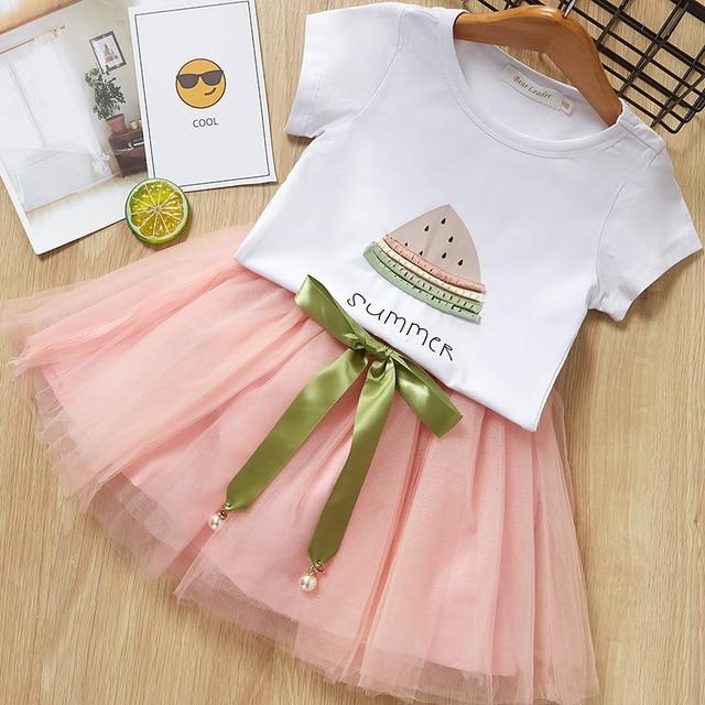 6502bc58 Girls Summer Dresses 2019 Children dresses White Watermelon Print Short  Sleeve T-Shirt+dress Design For 2-7Y Kids Dress Cloth