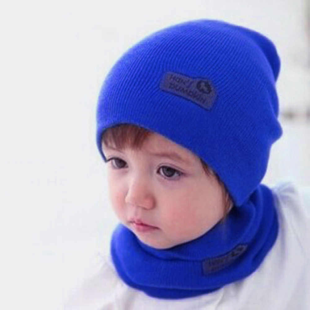 b5ac4dee7d1 6 Color Casual Baby Hat and Scarf Crochet Child Hat Warm Letter Knitted Kids  Hats Solid