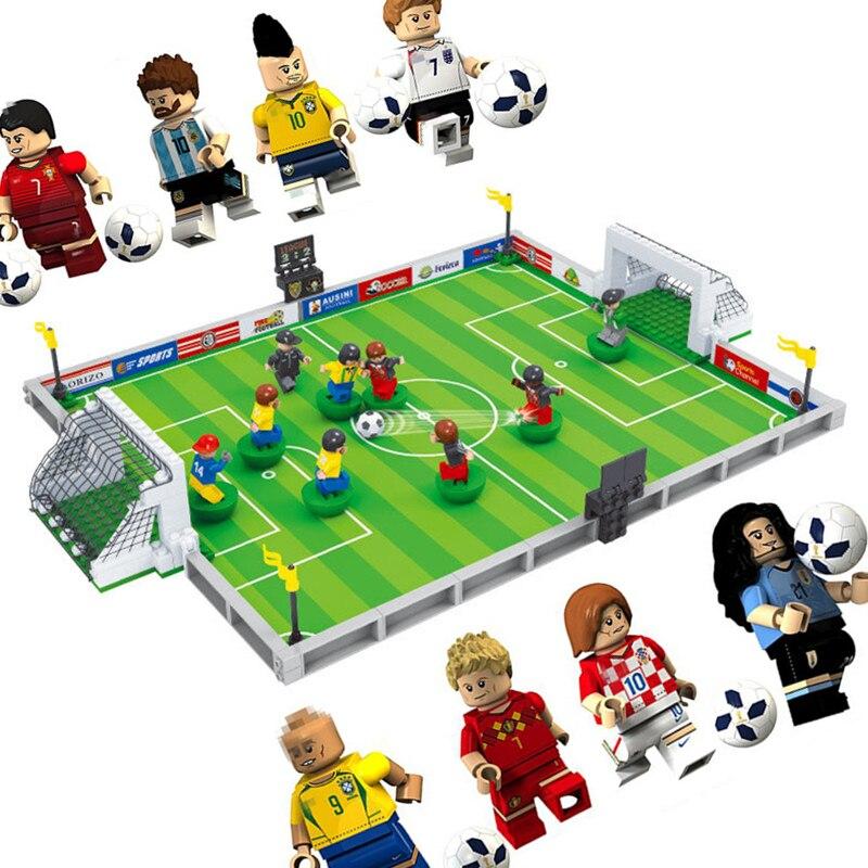 Neue welt fußball Stadt Fußball Bereich fit legoings Fußball figuren stadt Modell Gebäude Ziegel Blöcke diy Spielzeug geschenk kind gewinnen tasse