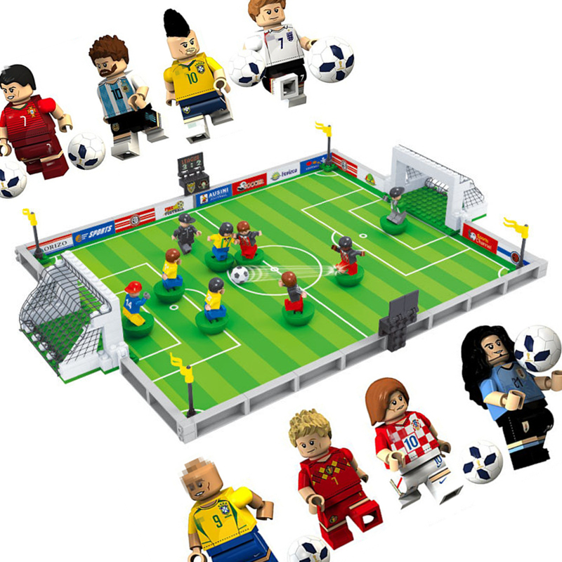 New world soccer City Football Field fit legoings Soccer figures city Model Building Bricks Blocks diy