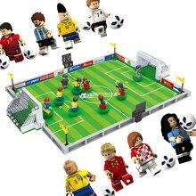 Новый мир футбол город футбольное поле fit legoings футбольные фигурки Город Модель Строительный кирпич блоки diy игрушки Детский подарок Победная чашка