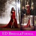 Nina Dobrev Red Dress Chiffon Strapless Hi-Low Prom Dress Evening Celebrity Dresses