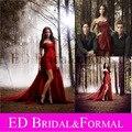 Nina Dobrev Vestido Vermelho Chiffon Strapless Hi-Low Prom Vestido de Noite Vestidos de Celebridades