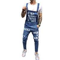 Mcikkny Men's Ripped Denim Jeans Bib Overalls Letter Printed Jeans Jumpsuit For Male Streetwear Suspender Pants Size S XXL