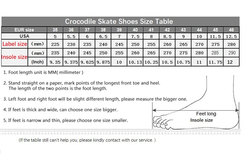 Crocodile Skate Shoes size chart