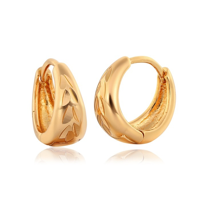 ecba84219 Anti Allergic Faceted Yellow Gold Plated Hoop Huggie Earrings. The First  Earrings For Kids ...
