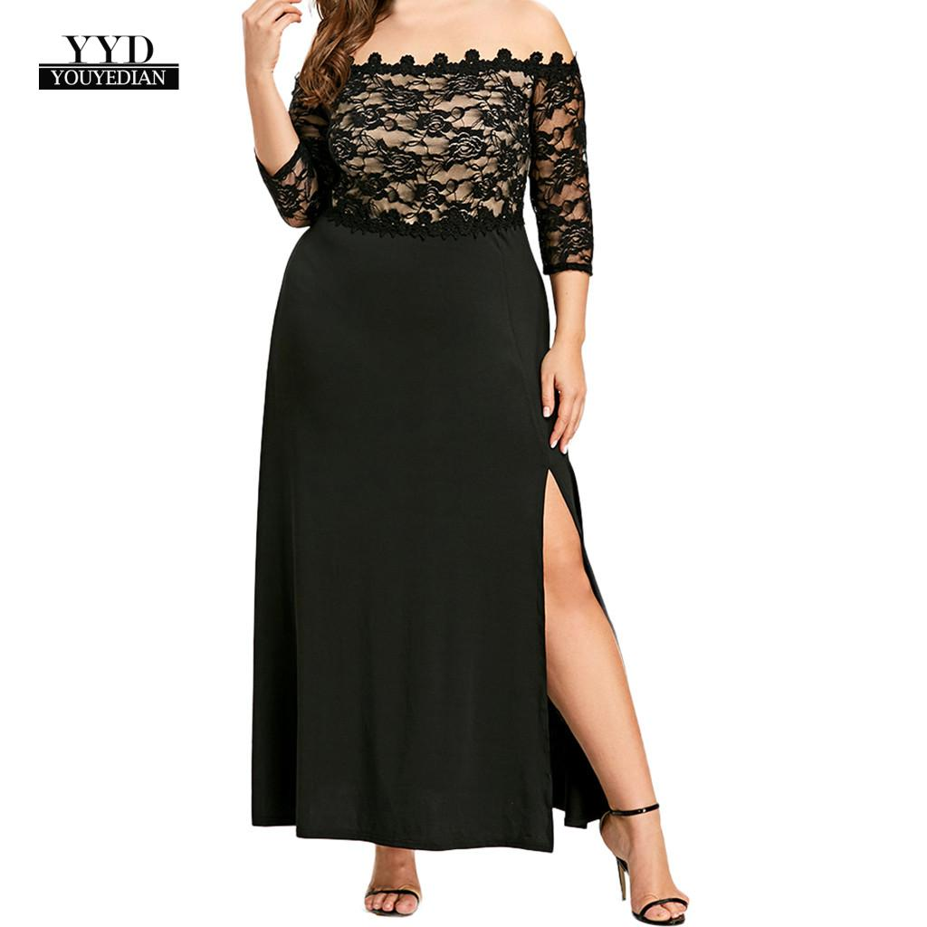 YOUYEDIAN Women Off Shoulder Lace Women Dress Plus Size