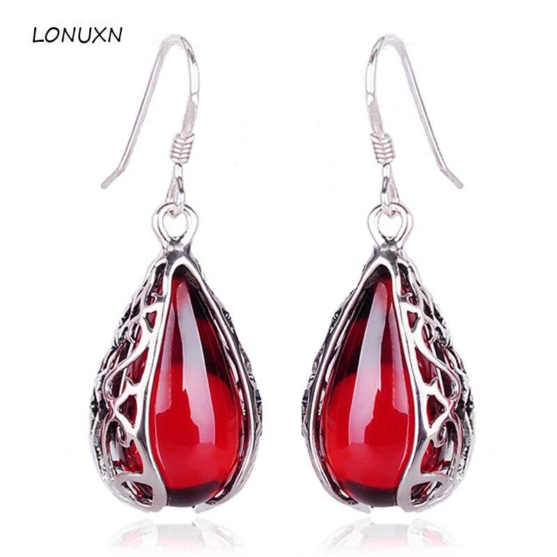 925 bijoux en argent Sterling pierres semi-précieuses grenat bohème classique vintage Bangkok filles goutte d'eau boucles d'oreilles pendantes